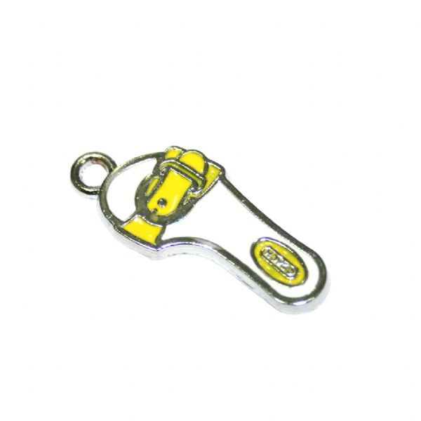 1pce x 24*11mm Rhodium plated yellow sandals enamel charm - SD03 - CHE1122